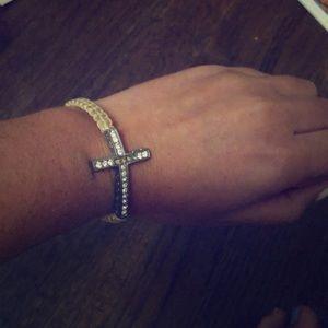Sparkly cross pull bracelet